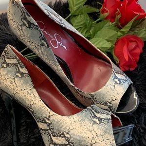 One pair of peep toe Jessica Simpson heels